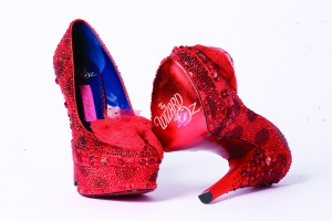 Betsey Johnson's take on Dorothy's ruby slippers -- try skipping down the yellow brick road in these puppies